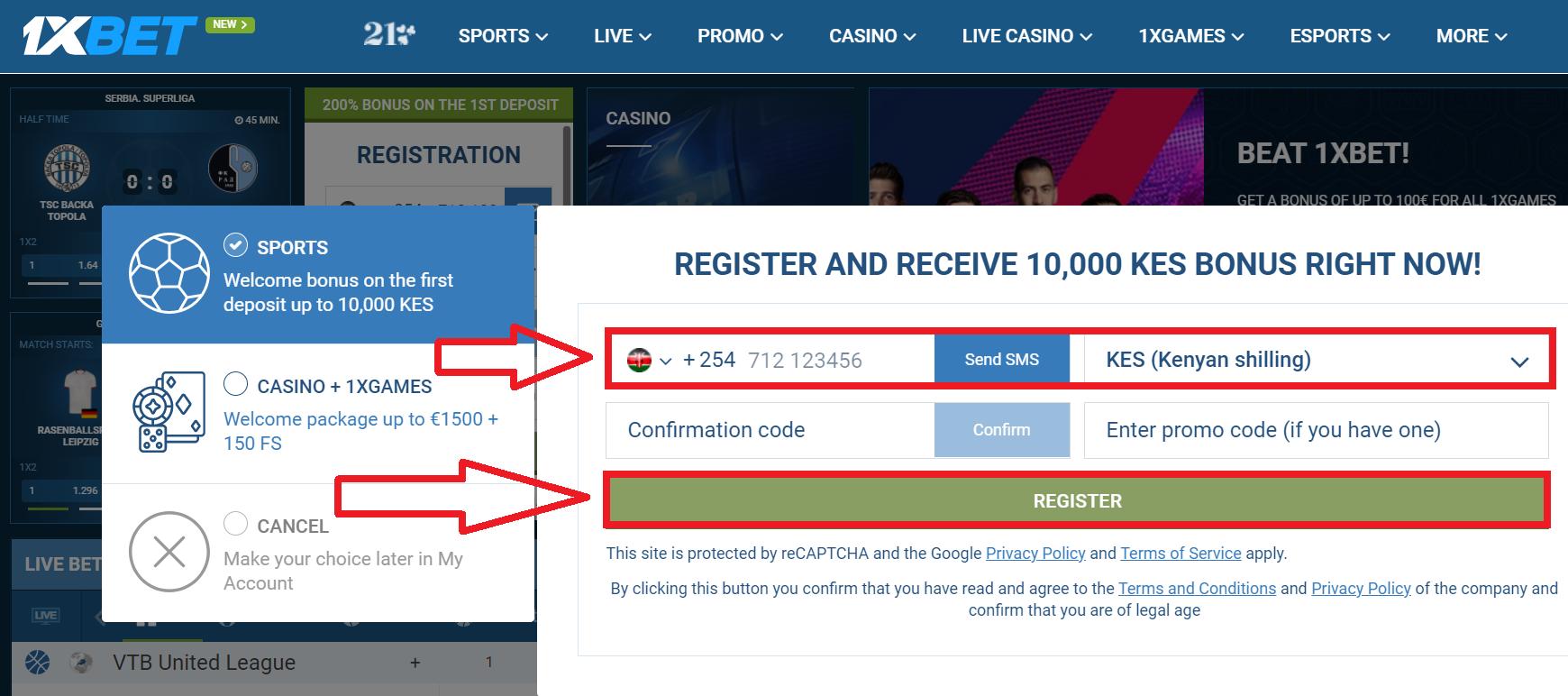 Fast 1xbet Kenya registration